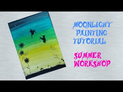 Moonlight Landscape Painting Tutorial For Beginners||Speed Painting Step By Step ||DIY||#18