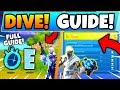 Fortnite DIVE CHALLENGES GUIDE! - Swimming Time Trials & Hidden E Location (Fortnite Missions)
