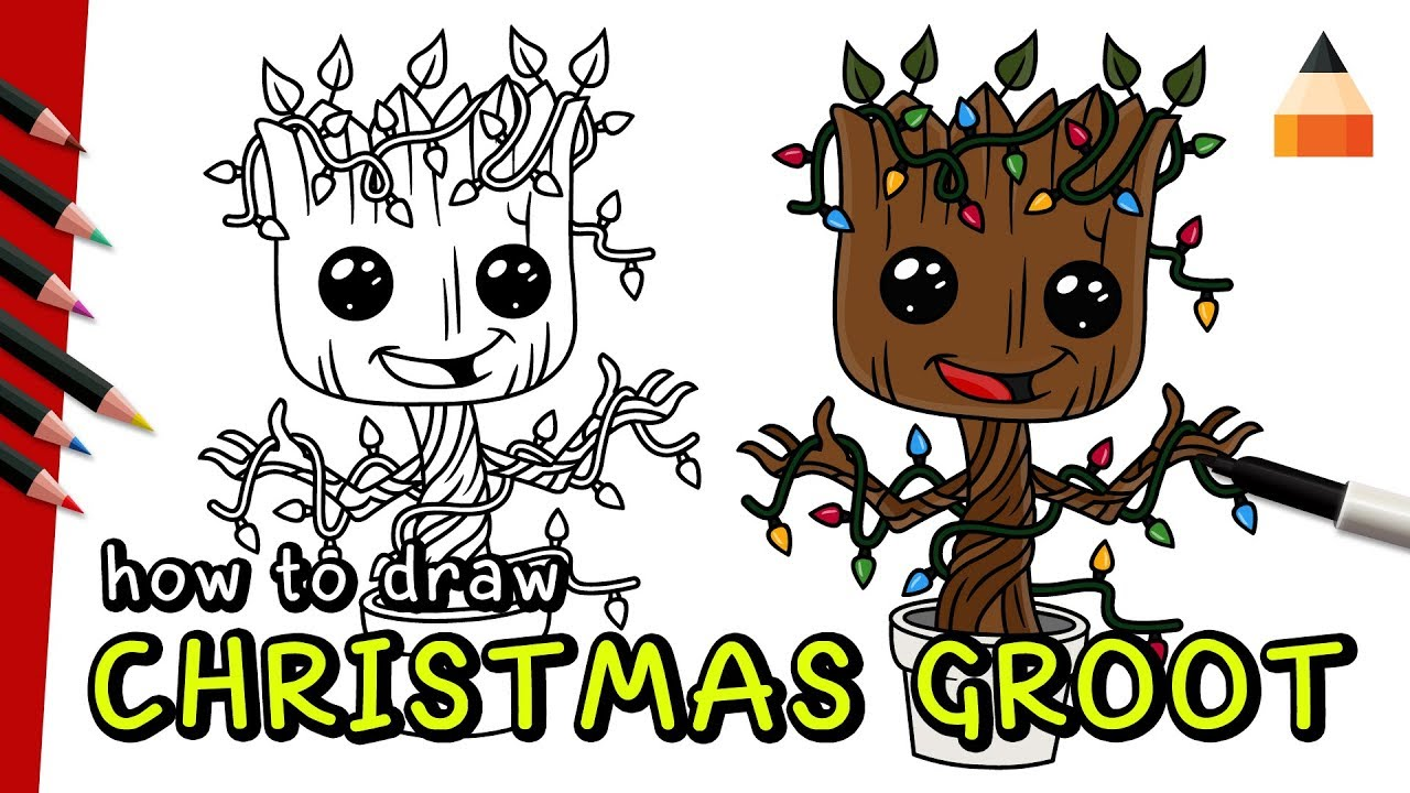 Christmas Drawing Ideas.How To Draw Groot Groot Baby Baby Groot Drawing Christmas Drawing Ideas