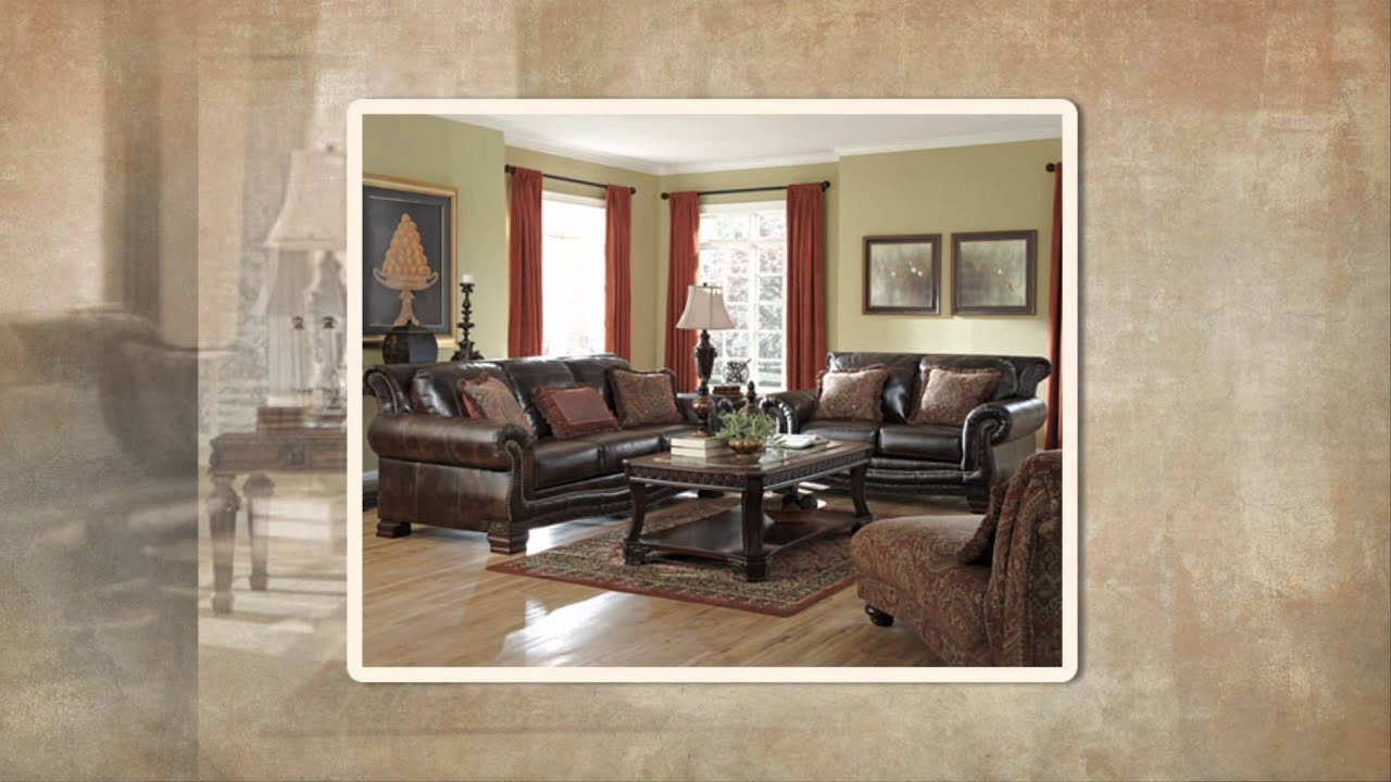 Ashley Ledelle Durablend Antique living room set - YouTube