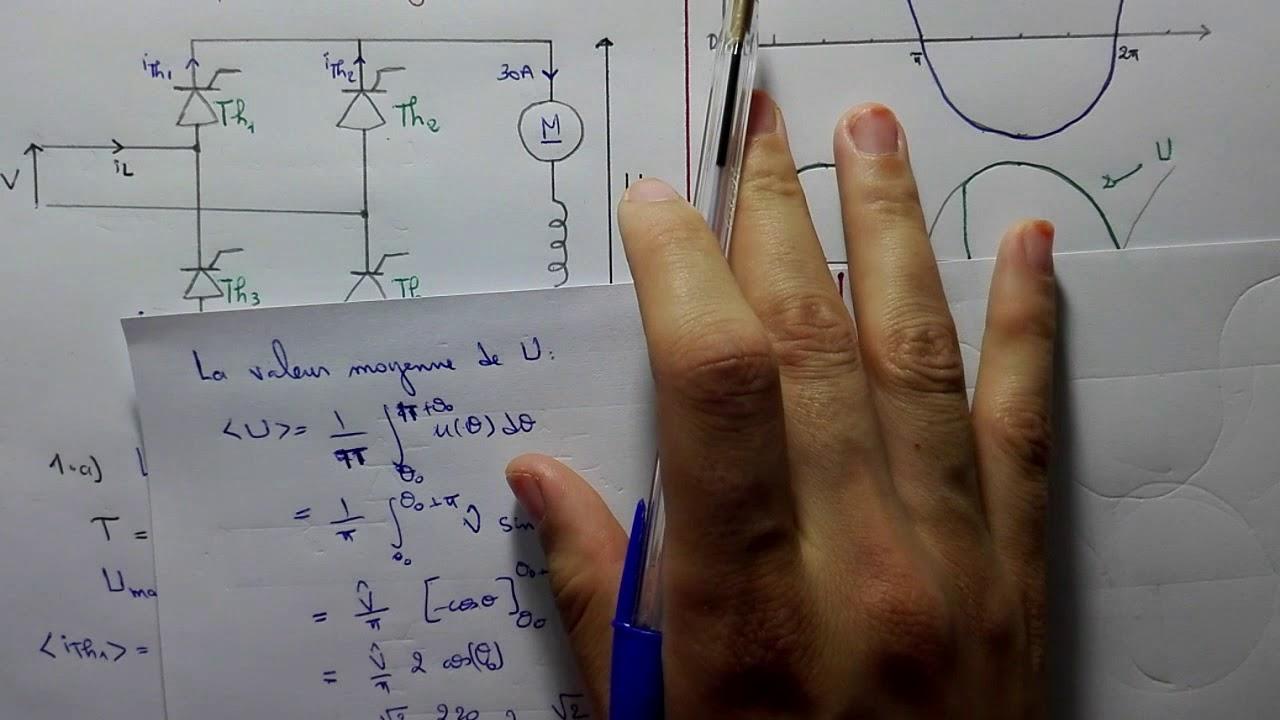 12 Exercice Corrige Probleme Pont Tout Thyristors Monophase Part2 Youtube