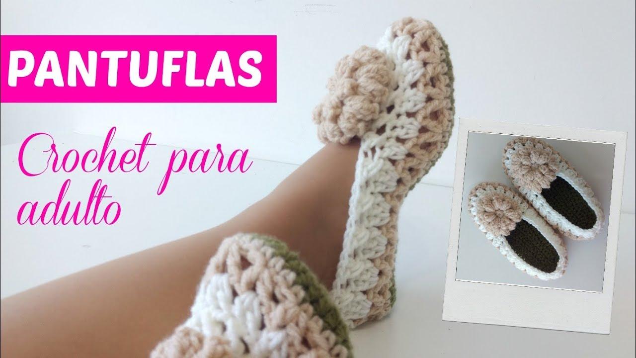 Cómo tejer pantuflas a crochet tamaño adulto - YouTube
