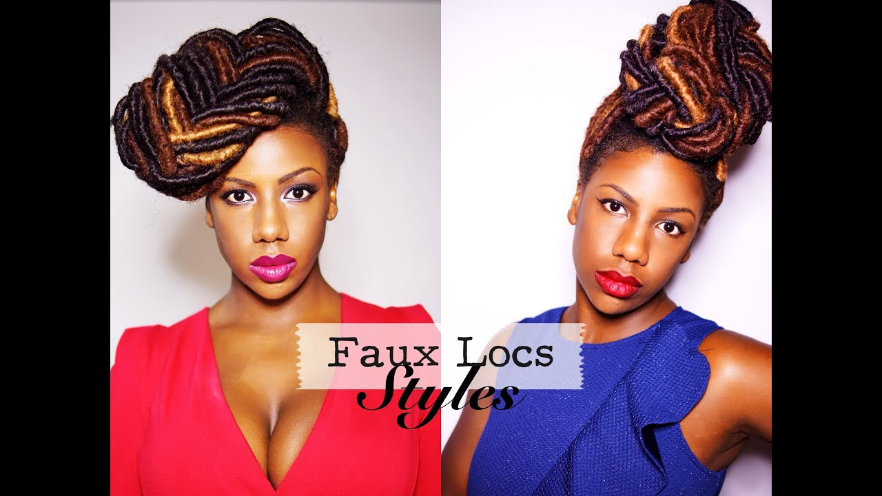 faux locs styles: braided bun and fishtail braid updo - youtube