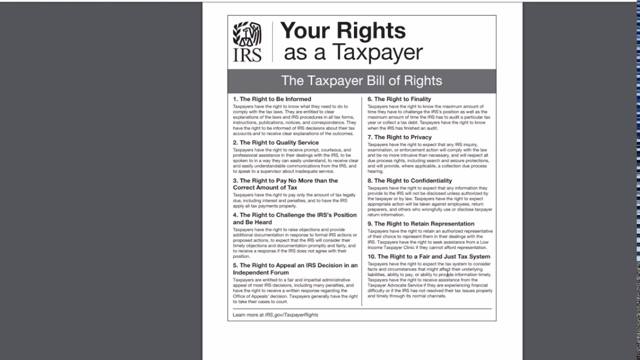 2018 – Form 1040 – Taxpayer Bill of Rights