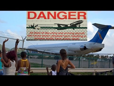 "St. Maarten's strongest Jet Blast  ""The Beast"" MD80 from Insel Air at Maho Beach"