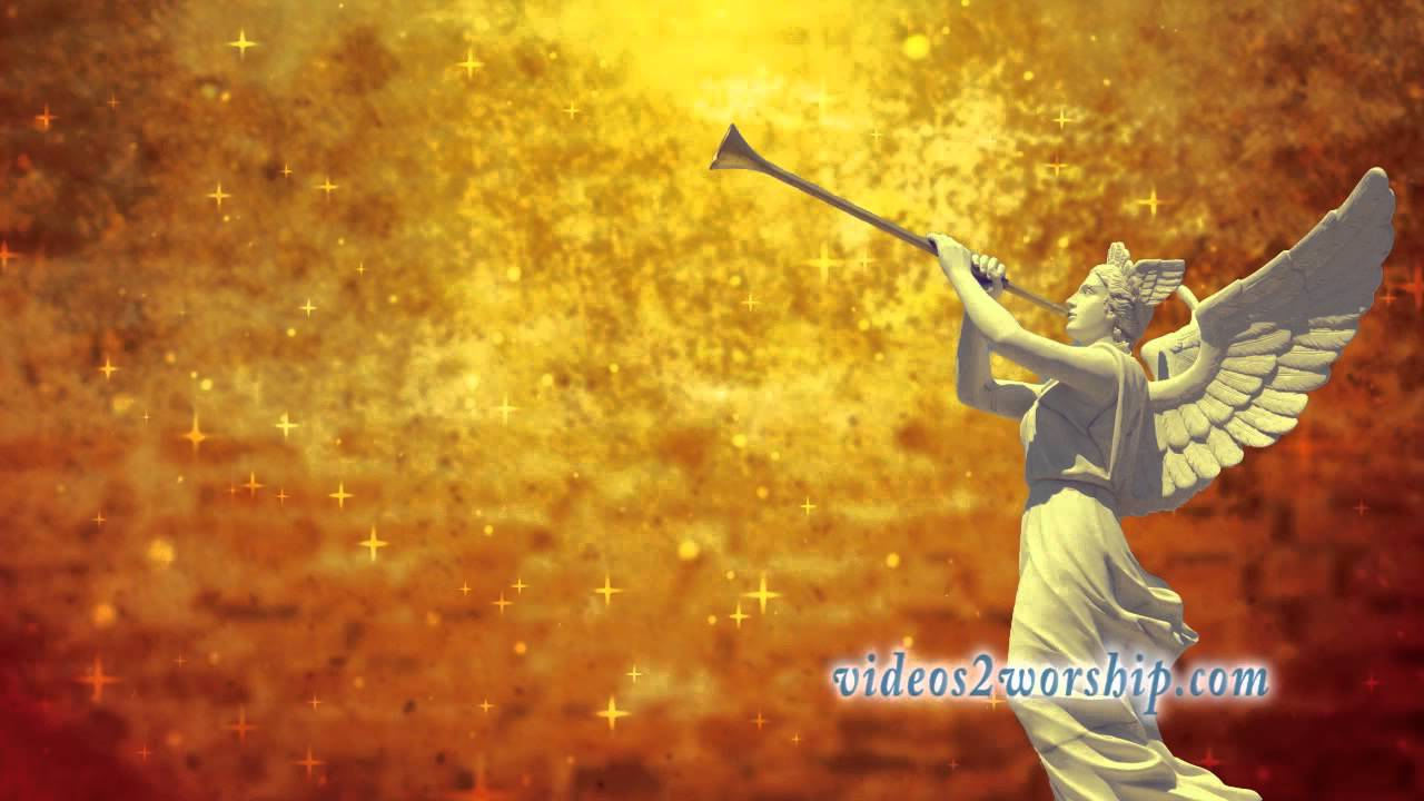 Angels Christmas Background.Angel With Trumpet Christmas Motion Background