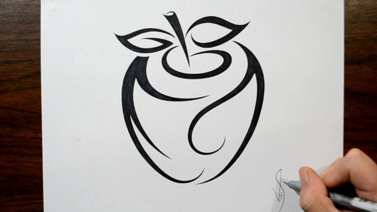 how to draw an apple tribal tattoo design style youtube