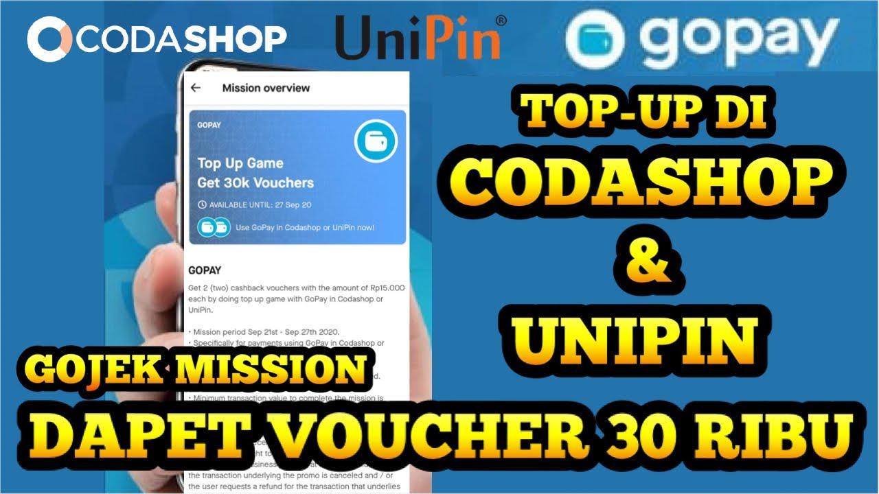 Voucher Cashback Gopay 30 Ribu Top Up Di Codashop Dan Unipin September 2020 Youtube
