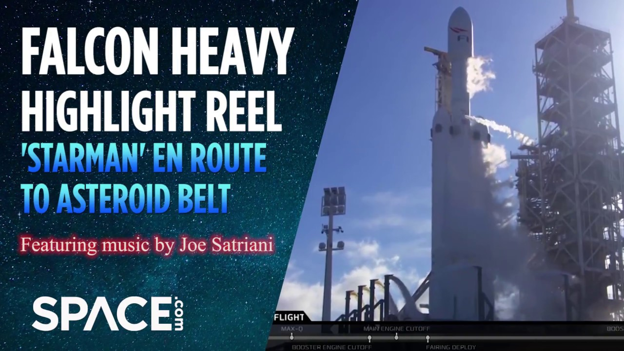 Asteroid Belt-Bound 'Starman': Falcon Heavy Highlights (Feat. Joe Satriani Music)