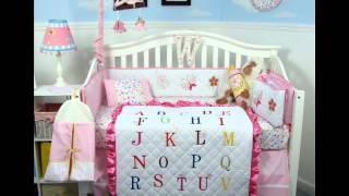 Girl Alphabet Baby Crib Nursery Bedding Set ; Baby Girl Crib Bedding