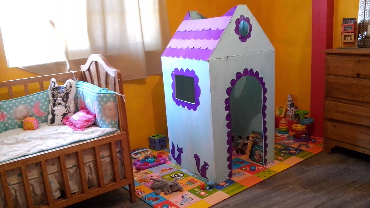 C mo hacer una casa de cart n para ni os tutorial diy playhouse casita de cart n youtube - Ideas para construir una casa ...