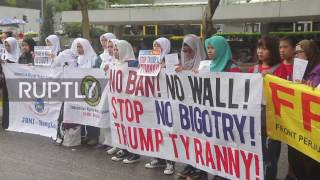 Hong Kong  Migrant workers protest in solidarity against Trump's travel ban