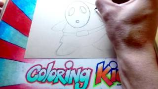 Nintendo Mario Brothers Coloring Pages for Kids Learn How to Color with Shy Guy Part 1