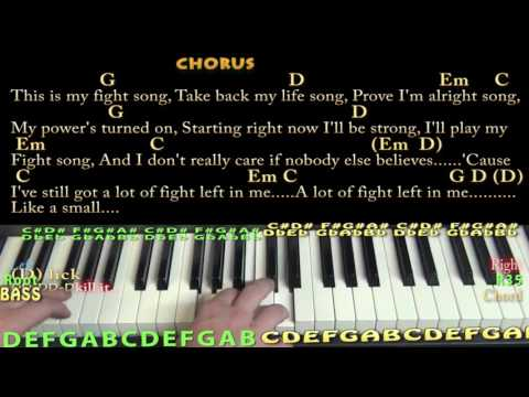 Fight Song (RACHEL PLATTEN) Piano Lesson Chord Chart with On-Screen Lyrics