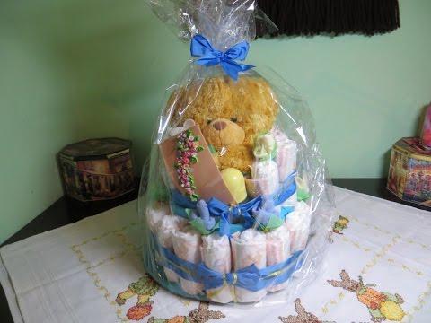 DIY: Торт из памперсов. Подарок для новорожденного./ A diper cake
