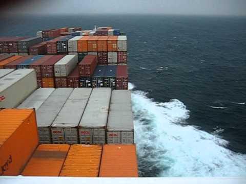 container Vessel close to Taifun in yellow sea