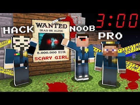 SCARY GIRL WANTED At 3:00 AM! NOOB Vs PRO Vs HACKER Vs GOD In Minecraft Animation!!