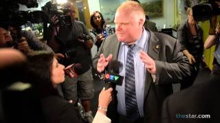 """Toronto Mayor Rob Ford leaves his office on Thursday, June 13, 2013, dodging questions and remarking to the media, """"I've answered so many questions. I don't know if you guys can't get it through your thick skulls..."""""""