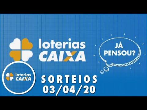 Loterias Caixa: Quina, Lotofácil e Lotomania 03/04/2020