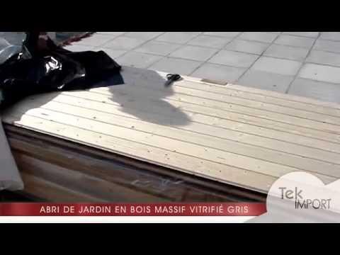 Abri de jardin toit plat 8.80m² en bois massif vitrifié gris 19mm ...