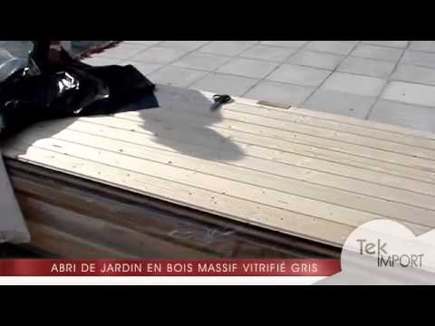 Abri de jardin toit plat 8.80m² en bois massif vitrifié gris 19mm Mülendorf  - Karibu - Tek Import