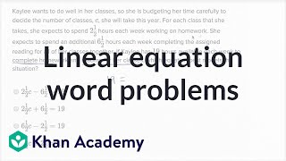 Linear Equation Word Problems — Basic Example | Math | New SAT | Khan Academy