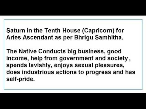 Saturn in the Tenth House for Aries Ascendant as per Bhrigu