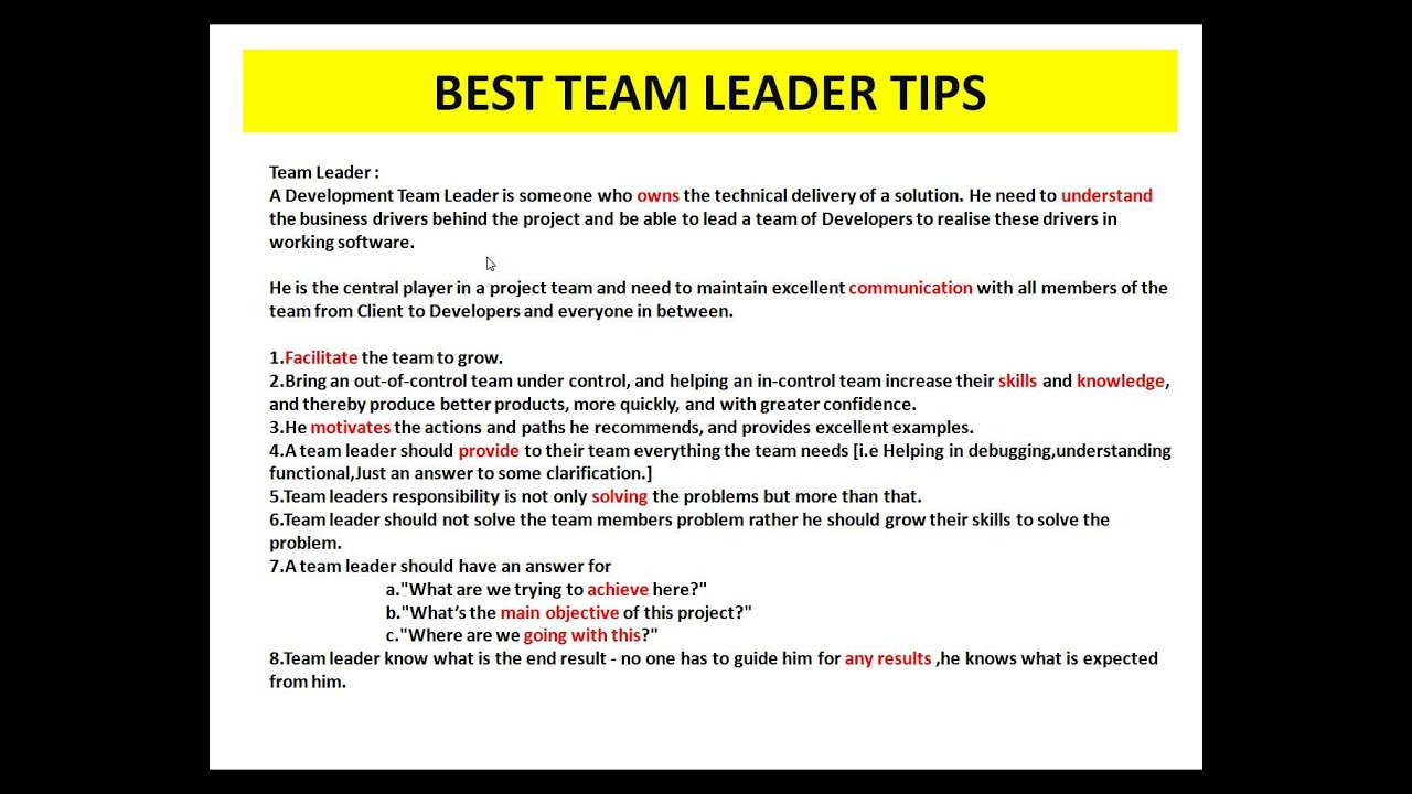 GOOD SOFTWARE TEAM LEADER TIPS  YouTube