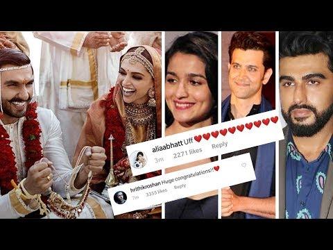 Bollywood Celebs REACT On Deepika Ranveer First Wedding Pictures | Hrithik, Alia, KJO, Arjun & More