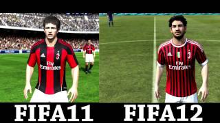 Fifa12 vs Fifa11 Game faces Barcelona AC Milan