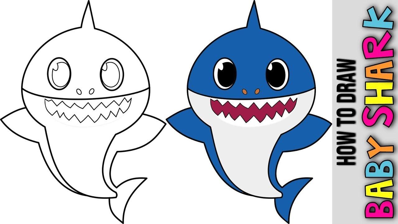 Baby Shark 🐋 How To Draw Baby Shark 🐋 Como Dibujar A Bebé