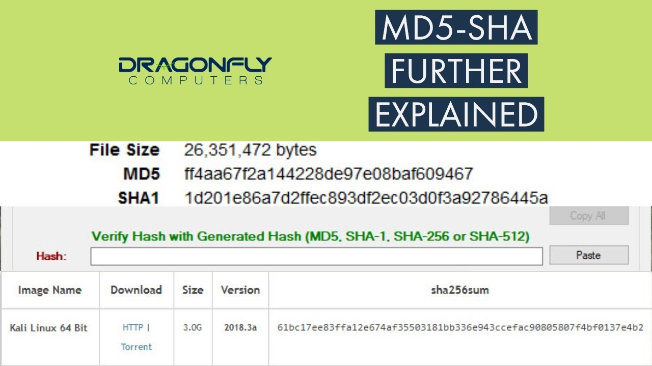 How to use the SHA and MD5 Checksum utility | Dragonfly
