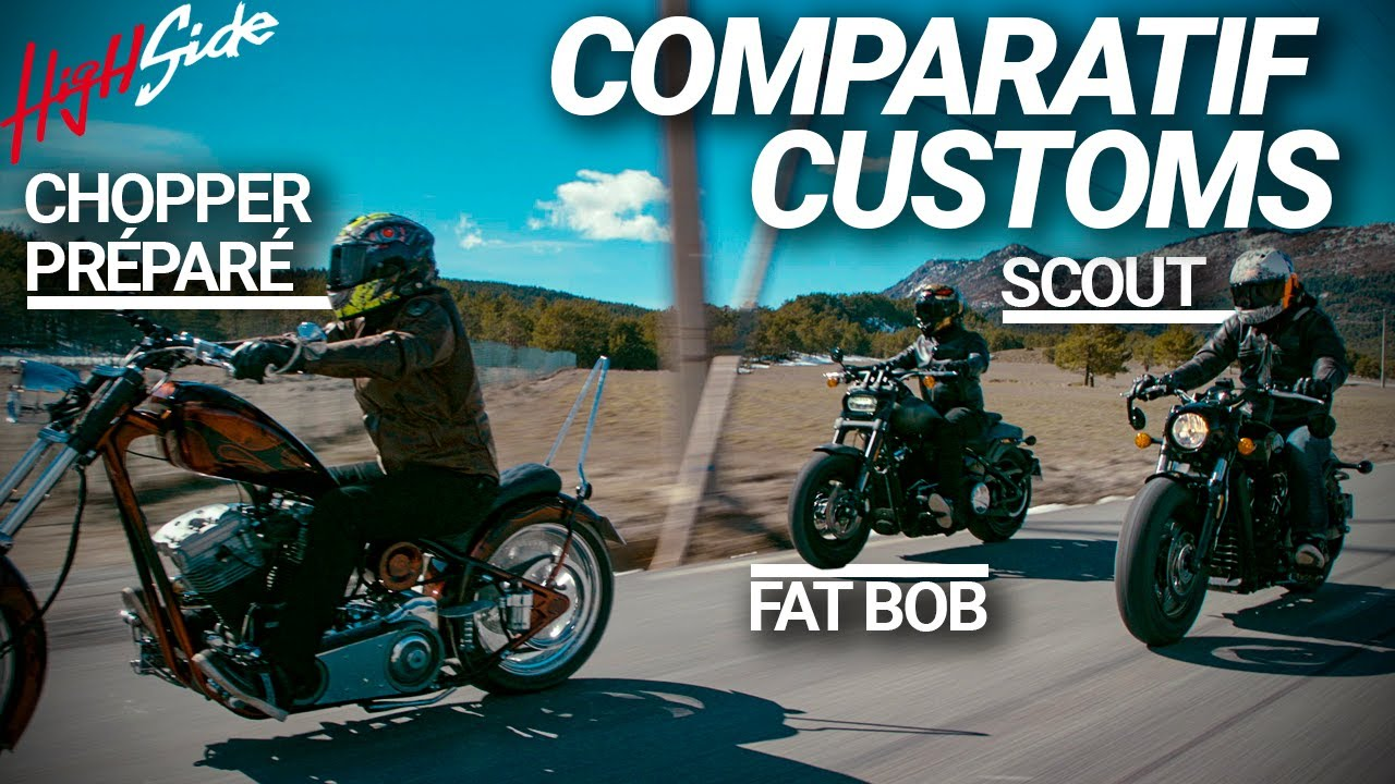 Comparatif customs : Harley-Davidson Fat Bob / Indian Scout / Custom préparé