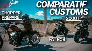 Zapętlaj Comparatif customs : Harley-Davidson Fat Bob / Indian Scout / Custom préparé | High Side
