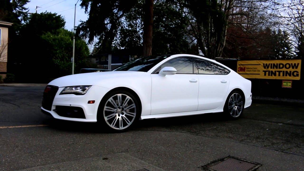 White Matte Audi A7 - YouTube