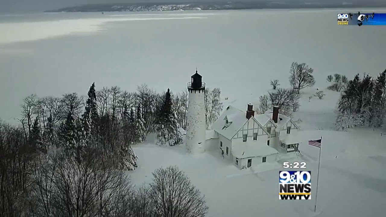Northern Michigan From Above Brimley Lighthouse 910 News