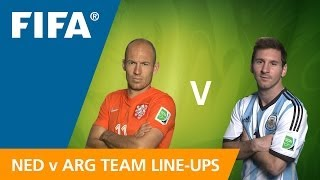 Netherlands v. Argentina - Team Line-ups EXCLUSIVE(Line-ups, substitutes and formations for Netherlands v. Argentina in the Semi-finals on 9 July at the 2014 FIFA World Cup™. FULL MATCH DETAILS: ..., 2014-07-09T19:44:58.000Z)