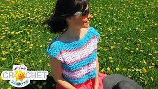 Peek-A-Boo Sleeve Crop Top Crochet Pattern & Tutorial