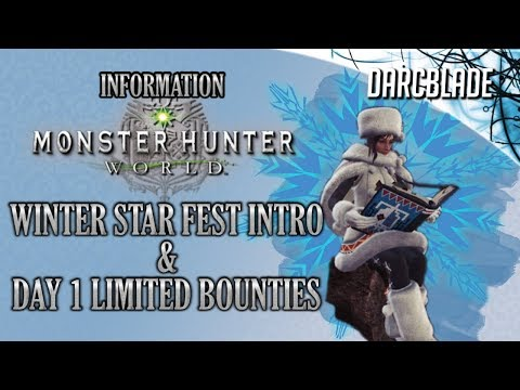 Winter Star Fest Intro & Day 1 Limited Bounties : Monster Hunter World thumbnail