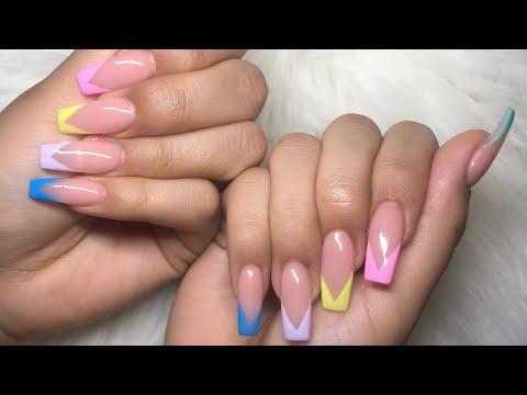 Colorful V-tips Nails | Acrylic Nails