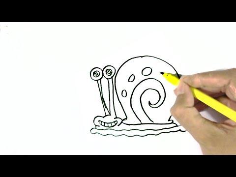How to draw Gary the Snail-SpongeBob SquarePants easy steps for children. beginners