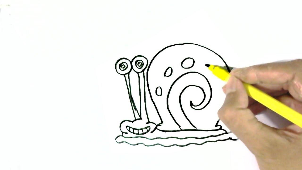 How To Draw Gary The Snail Spongebob Squarepants Easy Steps For Children Beginners