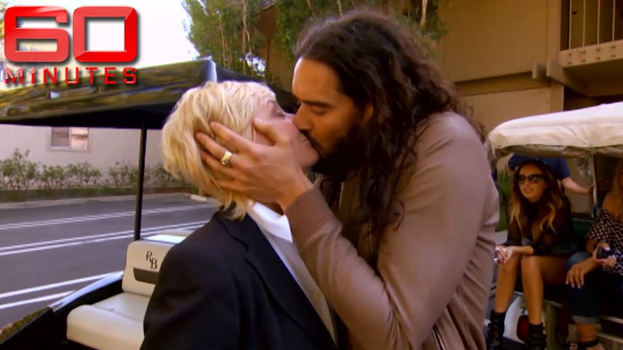 Download Russell Brand gives reporter more than she bargained for on wild set tour   60 Minutes Australia