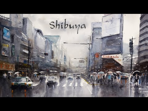 Shibuya, Tokyo - Busy street scenery painting