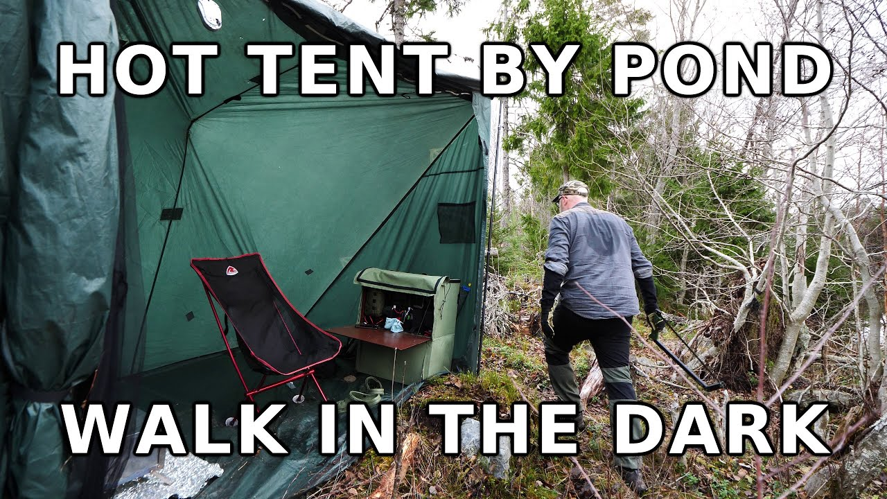 Hot tent by pond, frying burgers on stove, checkout tumulus and walk to the sea