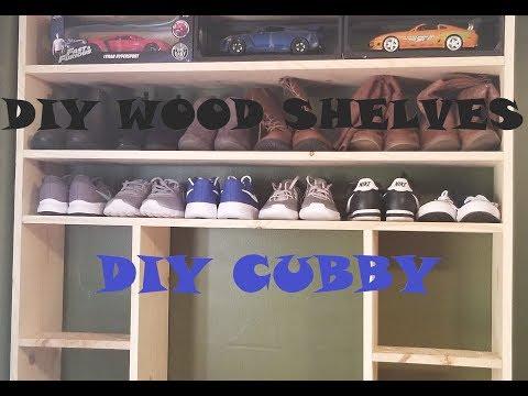DIY WOOD SHOE RACK   DIY EASY CUBBY   HOW TO MAKE WOOD SHELVES