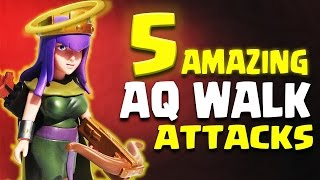 amazing 5 x different aq walk th9 attack strategy   clash of clans