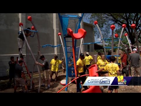 Volunteers gather to build playground in west Baltimore