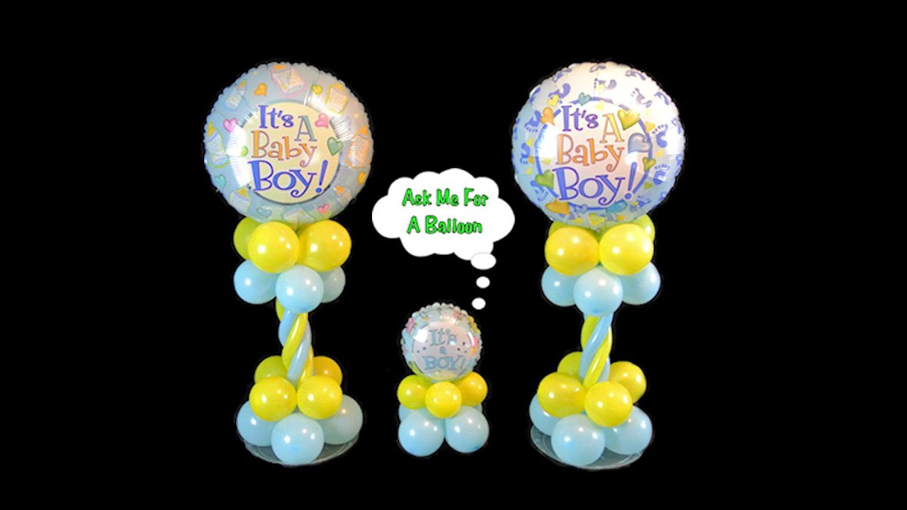 Baby shower balloon centerpieces video tutorial youtube for Balloon decoration for baby shower