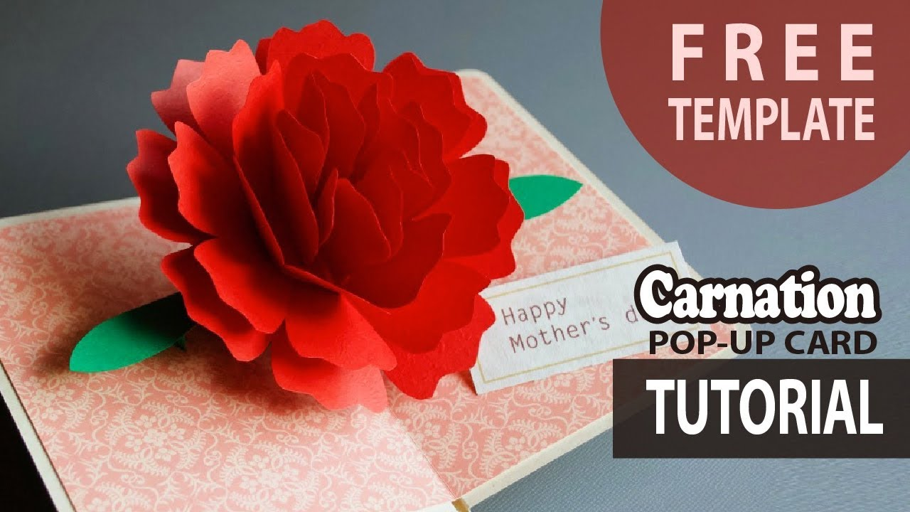 Tutorial Carnation Pop Up Card Free Template How To Make Mother S Day Craft Card Diy Youtube
